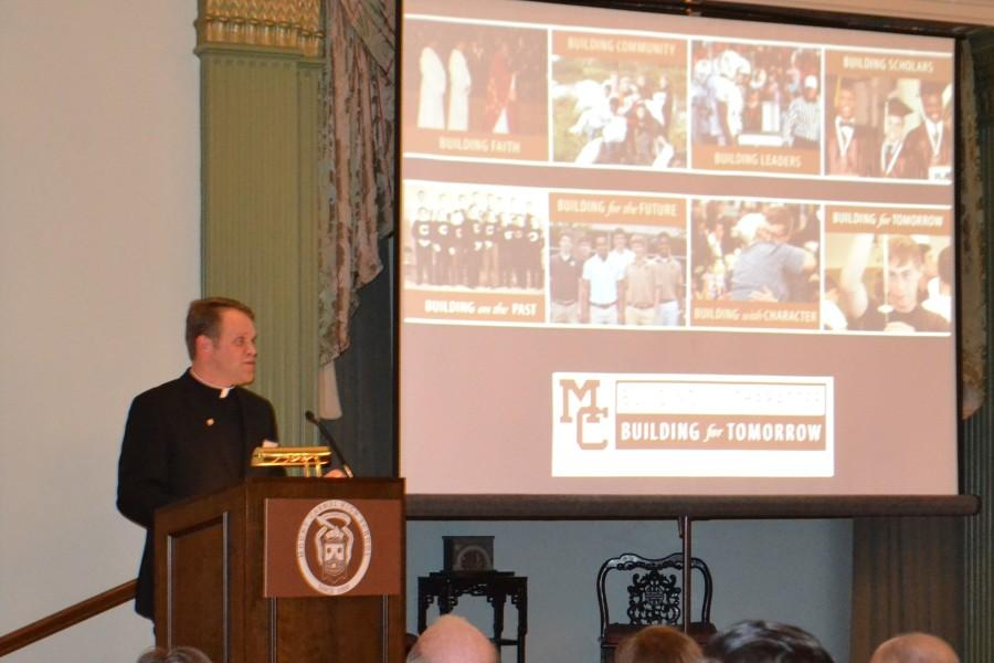 Fr. Tony Mazurkewicz speaks at the campaign kick-off event in late January.
