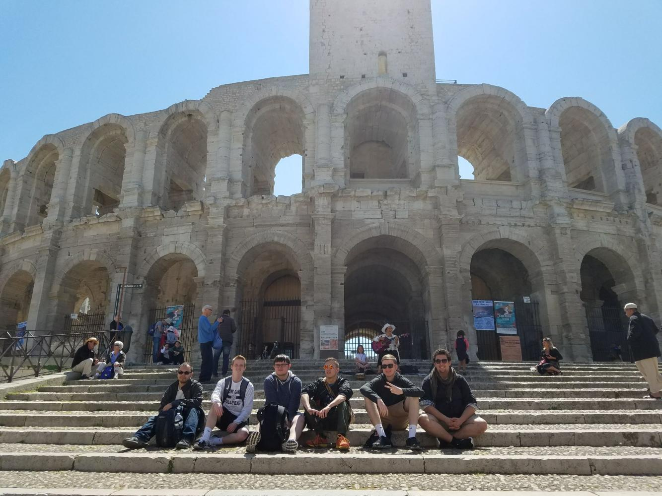 Several members of the Caravan - including (left to right) Ray Harris, Nico Della Fave, Colin Sage, Nick Dimas, Conor Langs, and Robeert Pickert - enjoyed a sunny day in Nimes, France exploring the ruins of a Roman amphitheater.