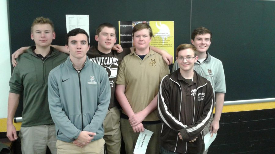 Varsity+Scholastic+Bowl+Team+left+to+right%3A+Anthony+Zralka%2C+Thomas+Jacobs%2C+Andrew+Walsh%2C+Marty+Spring%2C+Luke+Ehrenstrom%2C+and+Nate+Finn.
