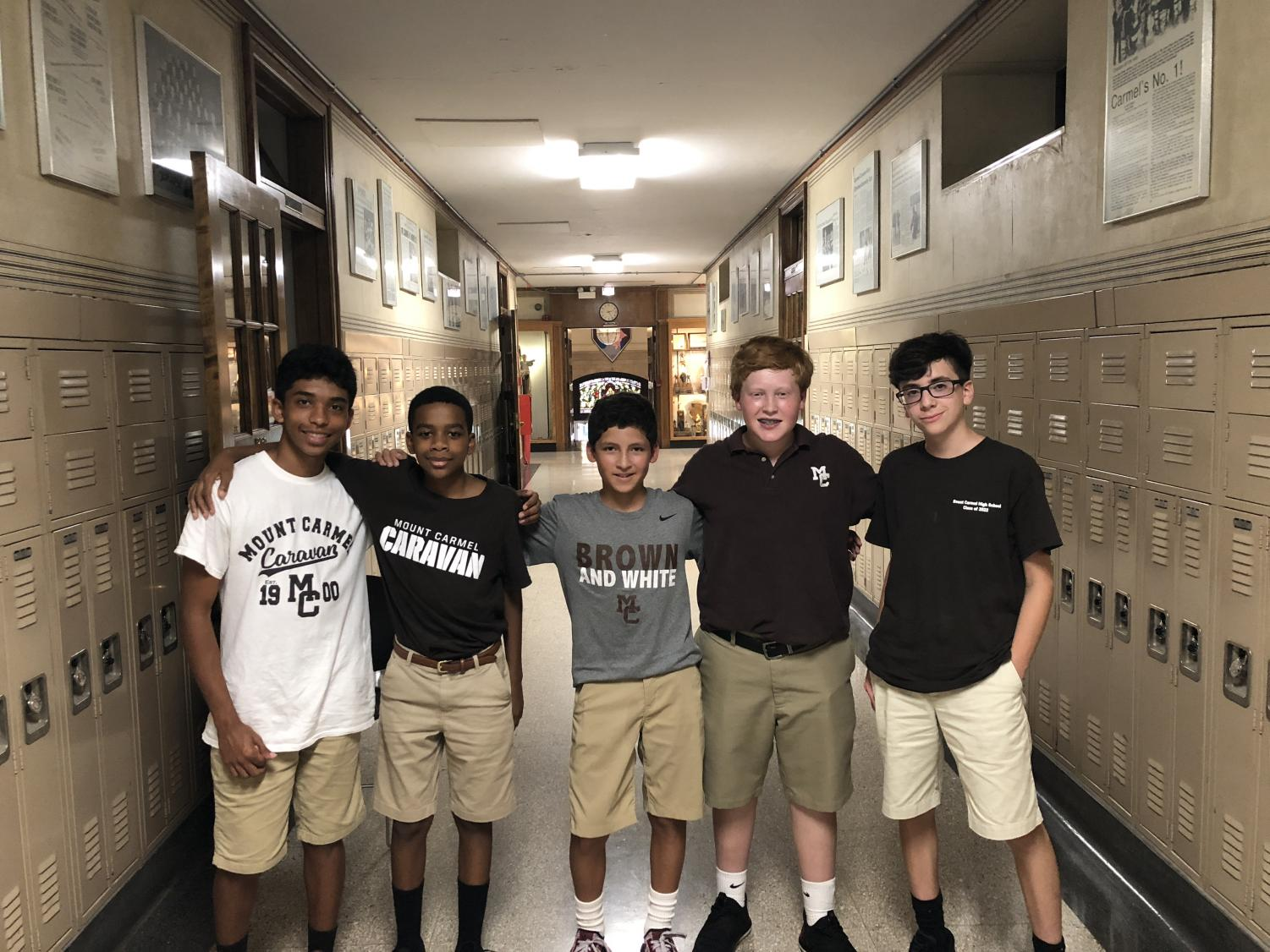 Carlos Banks (St. Therese), Justin Carney (St. Thomas of the Apostle), Robert Bonilla (Queen of Martyrs), Joe Bird (St. Catherine of Alexandra), Noah Sanchez (St. Thomas More, IN) are among a diverse group of freshmen beginning their journey to become Men of Carmel.