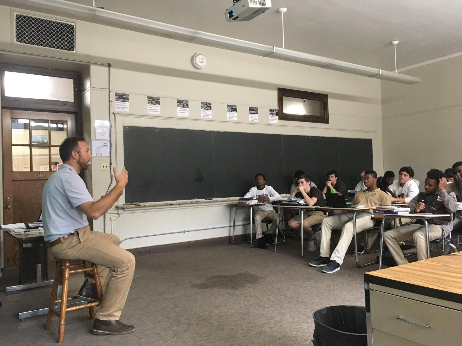 Returning teacher, Scott Sortal, teaches his US History class