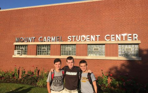 (Left to right) Michael McKenna, Dan Benoit, and Miles Hoey (now seniors) prepared to take on their first day as freshmen at MC.