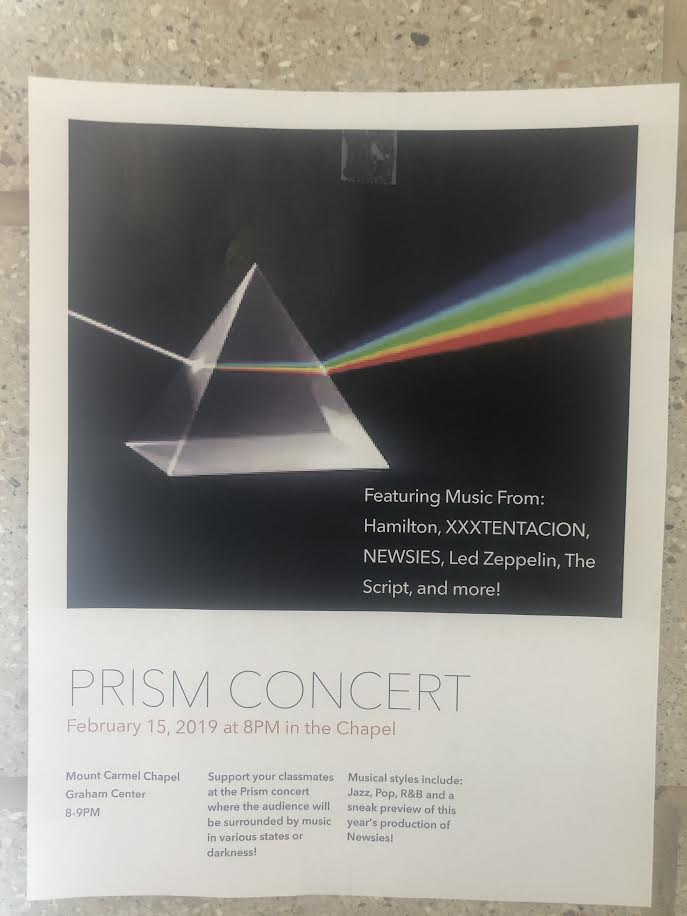 The MC Choir and Band will host their first ever Prism Concert on February 15 at 8 p.m. in the school's chapel.