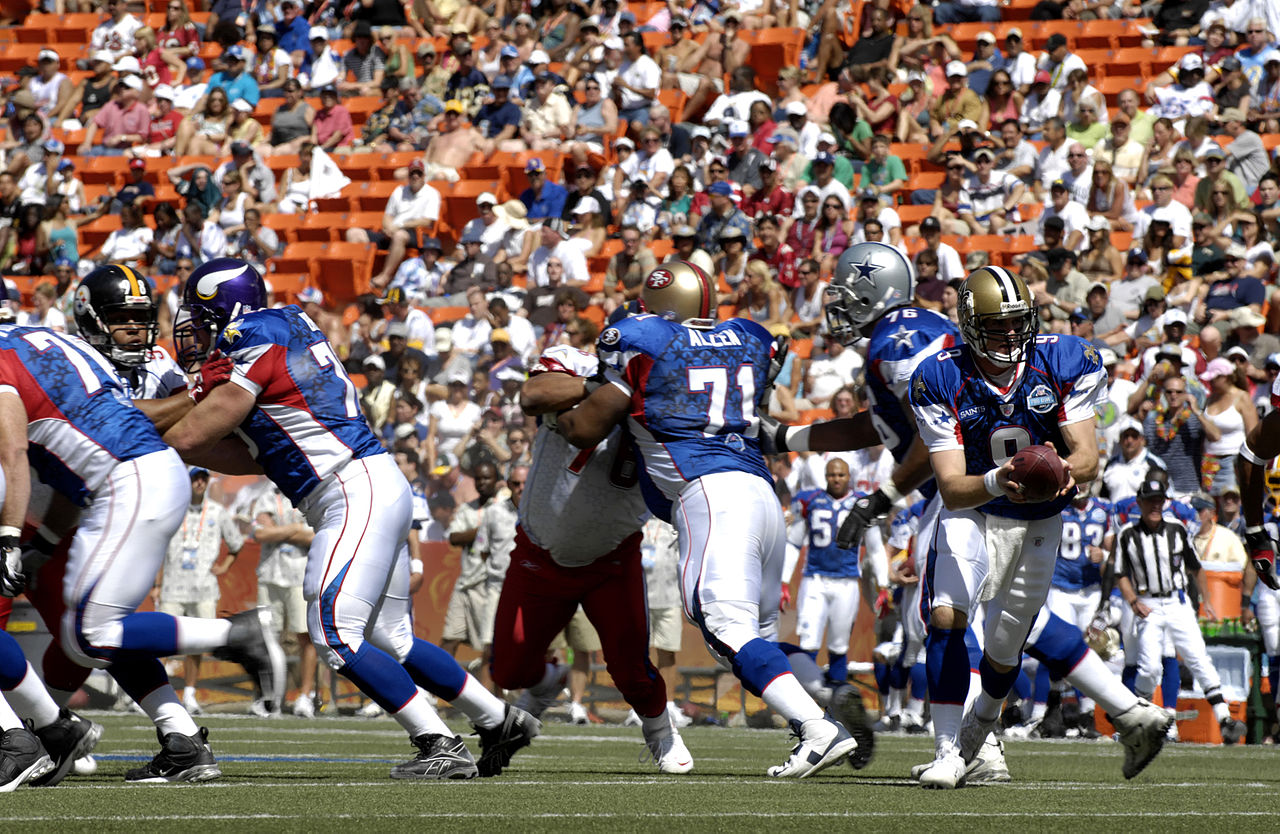 The NFL Pro Bowl, like most professional all-star games, offers little genuine competition. (google image labeled for reuse on Wikimedia.commons