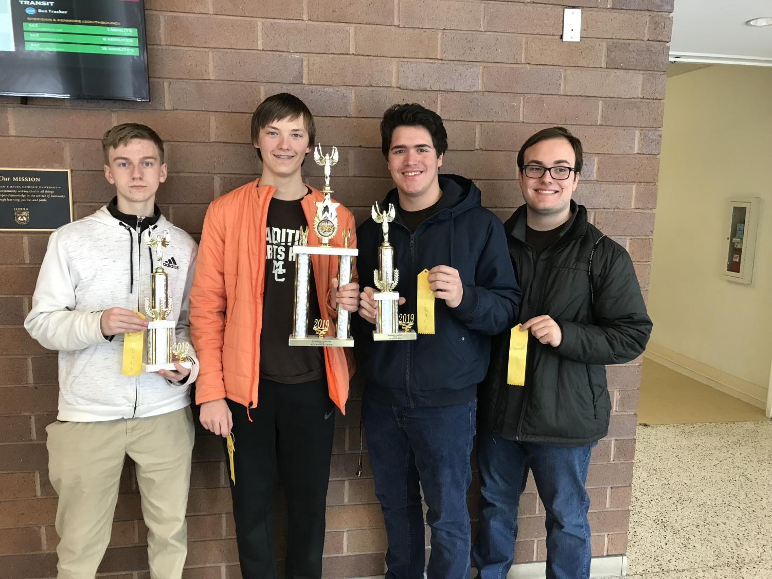 MC's Math Team participated in the Chicago Math Contest. Left to Right Kolton Hall, Jon Weber, Cesar Sanchez and Blake Lopez.  (Not pictured:  Kieran Conjar)