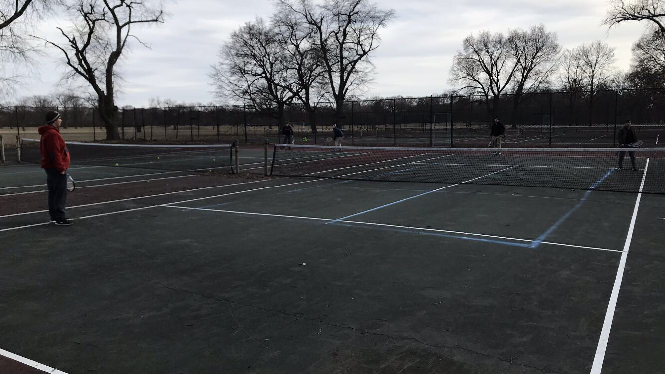 MC tennis faces an uphill challenge playing on substandard courts at Jackson Park.  (photo credit:  Matthew Martinez)