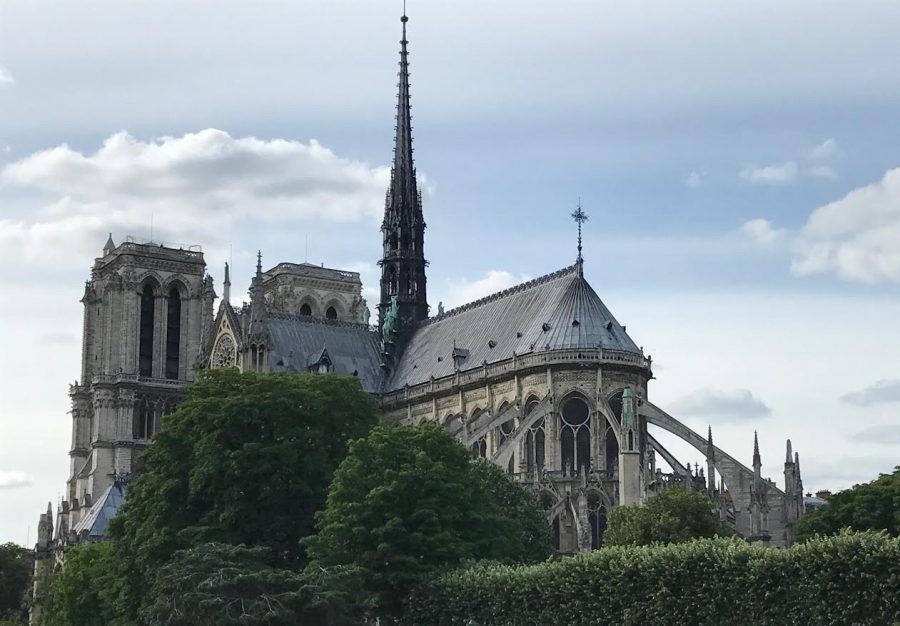 The+iconic+spire+of+the+Notre+Dame+Cathedral+was+destroyed+in+the+recent+fire.+++%28Photo+by+Karen+Hoey%29