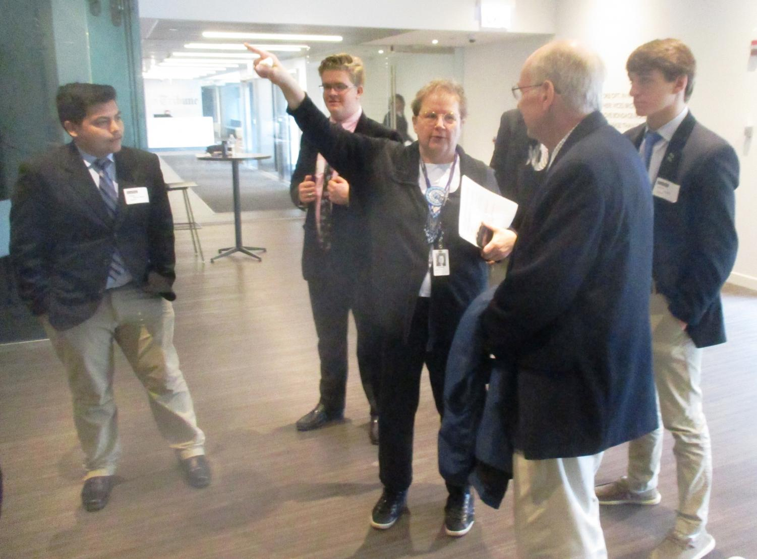 Margaret Holt of the Chicago Tribune gave the Caravan staff a tour of their new offices.