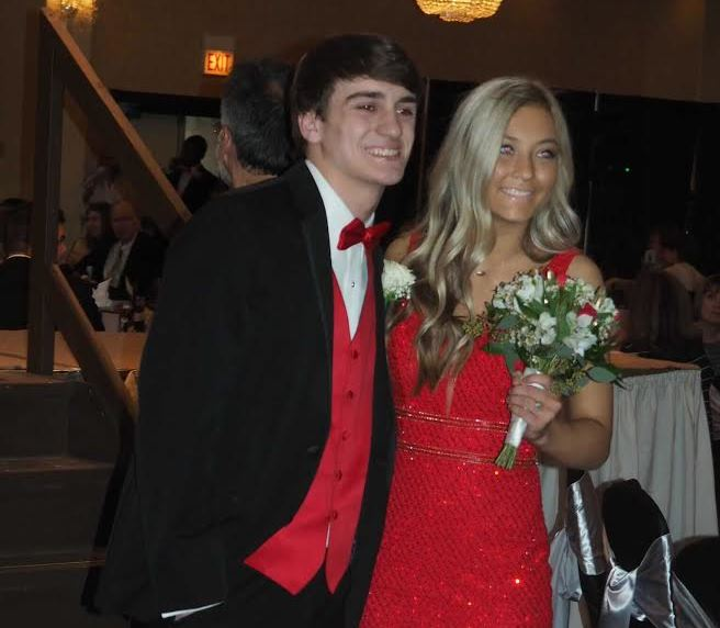 MC+senior+Miles+Hoey+and+MC+senior+cheerleader+Hailey+Feil++after+the+prom+run+at+the+2019+Mother%27s+Club+fashion+show.+