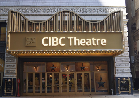 The CIBC Theatre, located in downtown Chicago, is the venue for he Broadway musical Hamilton. (google image labeled for reuse on Wikimedia commons)