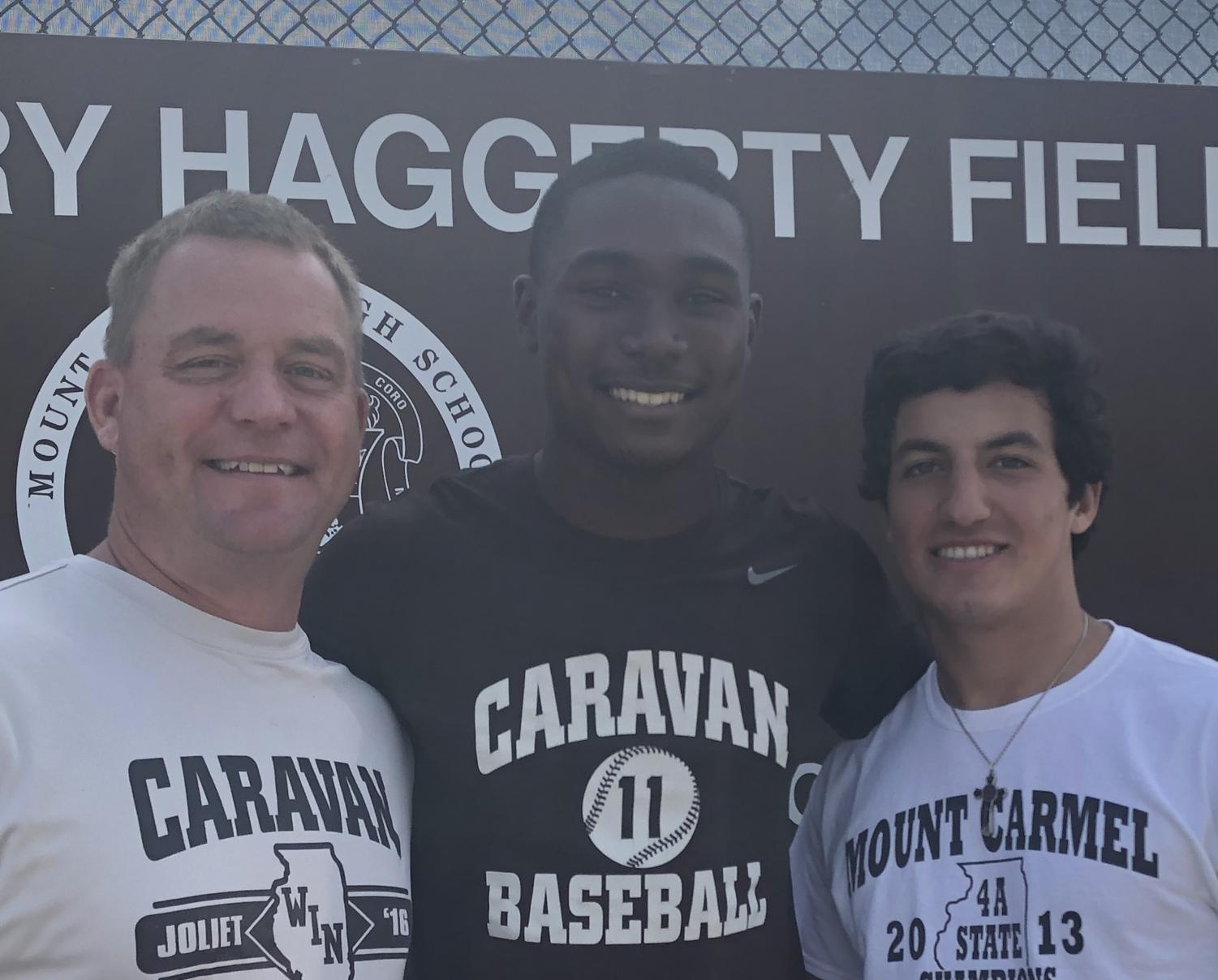 Both Head Baseball Coach Brian Hurry (left) and teammate Tony Livermore '20 (right) see a bright future in baseball for Ed Howard '20.