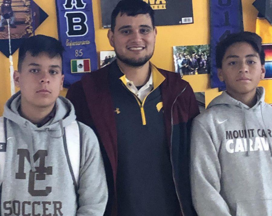 (Left to right): Alex Olivares, Coach Manuel Medina, and Marco Espinoza all look forward to this Fridays  soccer overnight.