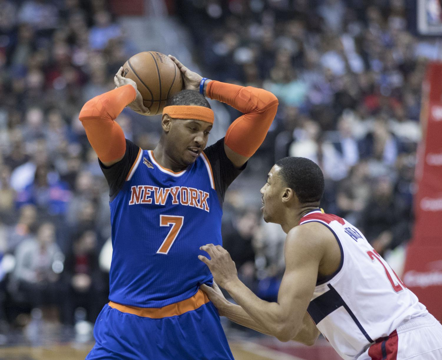 Carmelo Anthony on his old team, the New York Knicks, playing against the Washington Wizards on January 31st, 2017. (Photo Credit: Keith Allison via Wikimedia Commons under Creative Commons License)