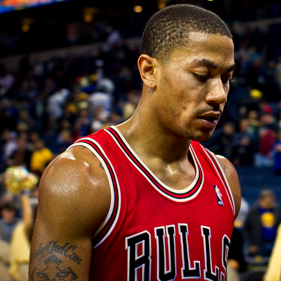 Derrick Rose on Christmas Day in 2011 after a loss to the Warriors. (Photo Credit: nick_la via Wikimedia Commons under Creative Commons License)