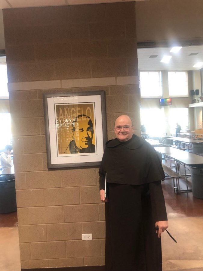 Fr.+Leopold+standing+next+to+his+favorite+Carmelite+out+of+all+of+the+paintings