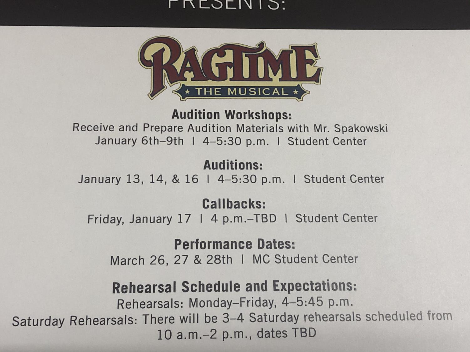 Ragtime auditions set for January
