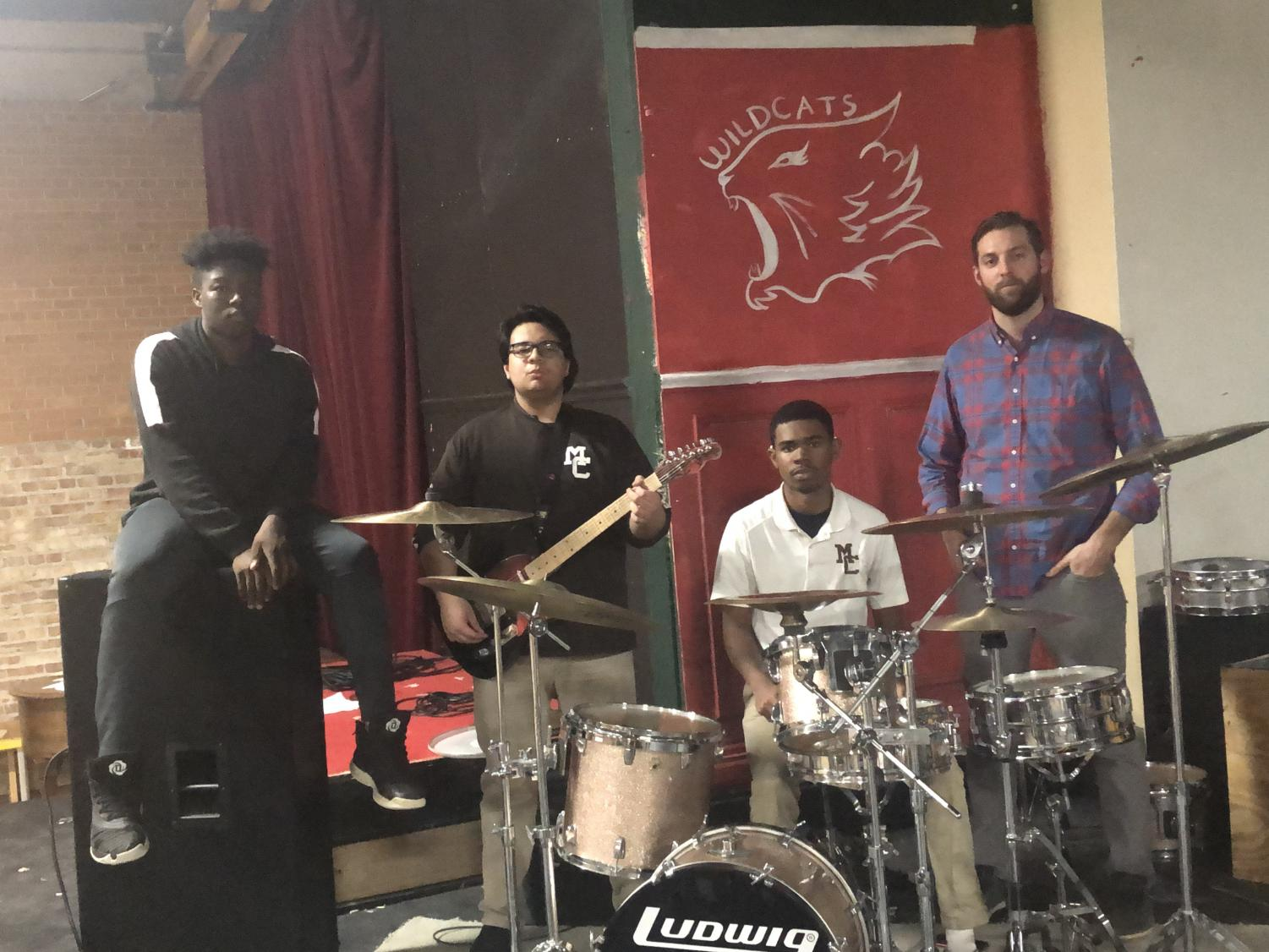 (Left to right): AJ Williams, Abraham Godina, Mykal Drayton, and Mr. William Spakowski are working diligently to prepare for the upcoming musical Ragtime.