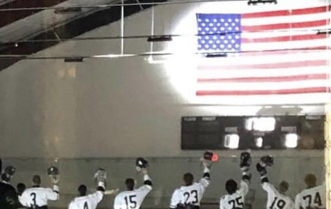 Hockey team in line for the national anthem