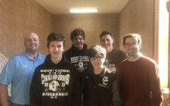 There are nine current or prospective Eagle Scouts at Mount Carmel:  (left to right) Mr. Jim Peltzer, Joe Baranowski '22, Noah Sanchez '22, Mr. Dominic Scheuring, Brad Uzubell '23, and Alexander Uzubell '21. (Not pictured: Zachary Beaver, Mr. John Stimler and Mr. Stephen Lilly).
