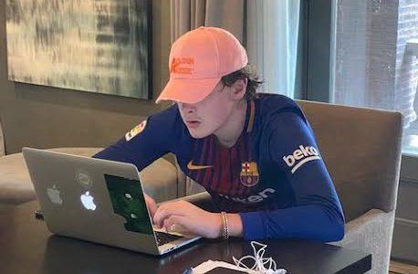 The writer hard at work. Photo - Moynihan