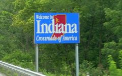 The Indiana border line sign