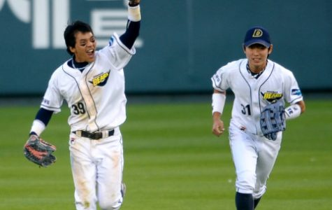 Two members of the reigning KBO champion Doosan Bears seem excited to be playing, even without fans.