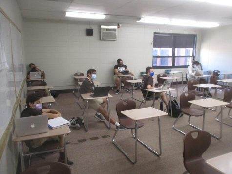Whenever possible, students attending classes in-person are seated at a safe distance in Mount Carmel