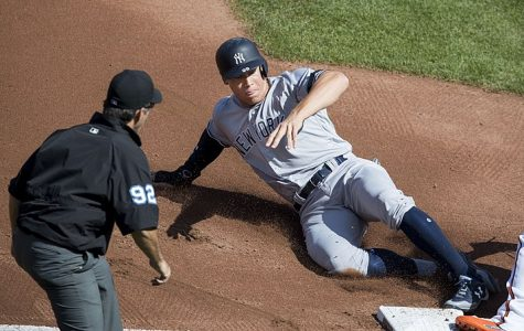 Aaron Judge slides into 2nd against the Orioles 9/7/17
