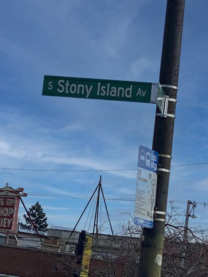 Stony Island Avenue street sign on the corner of 86th