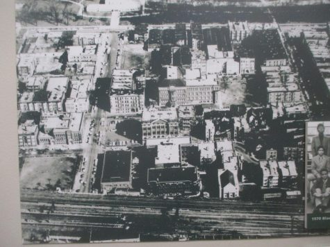 An aerial view of the Mount Carmel campus in the 1960s portrays a very different neighborhood. (Centennial Hall timeline photo)