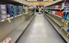 Many supermarket shelves are empty due to high demand for cleaning supplies during COVID-19. (Photo credit:  Wikimedia commons, under Creative Commons license.)