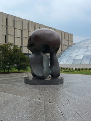 """Nuclear Energy,"" a sculpture by Henry Moore on the campus of the University of Chicago, commemorates the world"