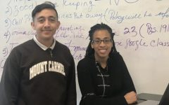 Senior Dylan Guijosa, Moderator Mrs. Shanta' Wheeler, pictured at one of last year's meetings