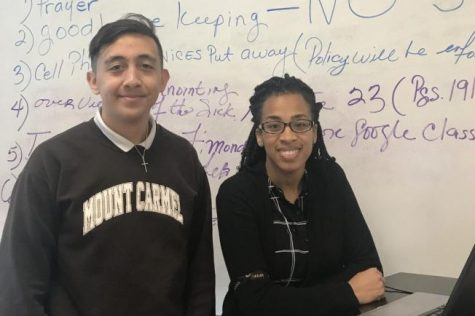 Senior Dylan Guijosa, Moderator Mrs. Shanta' Wheeler, pictured at one of last year