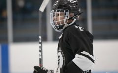 Senior Trevor Nordstrom, shown in a pre-game warmup at HF's ice hockey arena, sees positives among the challenges of COVID-19.