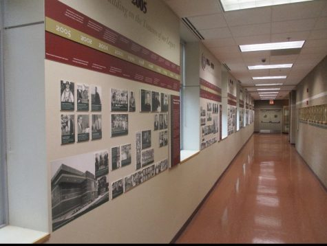 The displays in Centennial Hall, which currently extend only to 2005, will soon be updated with events of the past 15 years.