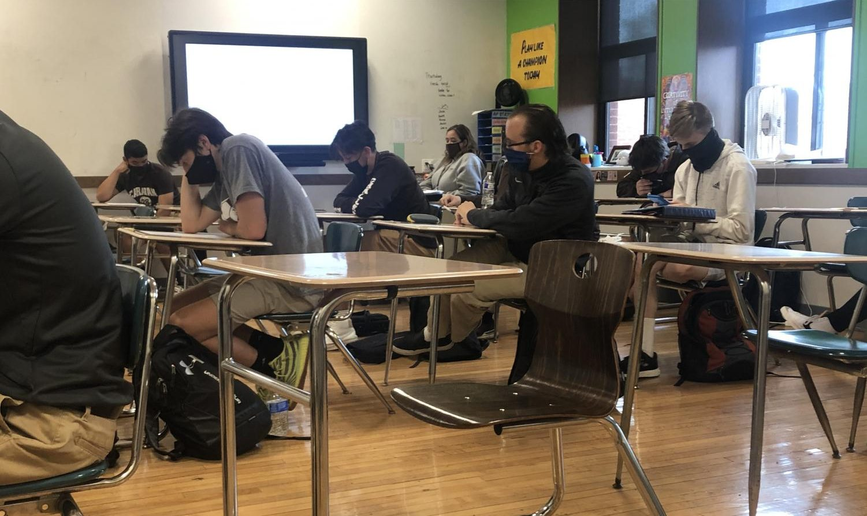 Mrs. Smola teaching her AP stats class, 2021