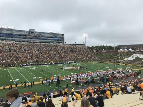 A Collegiate football game between the University of Tennessee and the University of Missouri